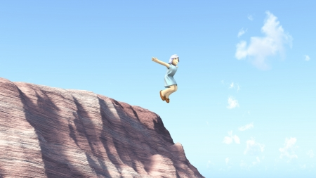 14716596 - the wanton girl is jumped from a cliff