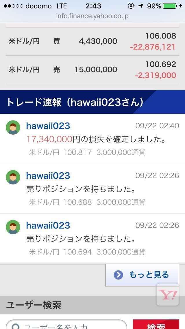 hawaii023氏 17340000円の損失確定の瞬間