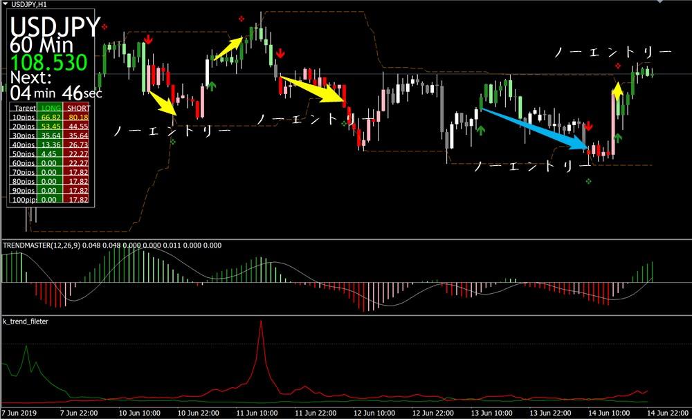 未来予知FX トレンドマスターを加味したチャート画像(ドル円・6/10週)